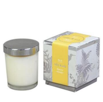soy wax candles in glass with tin lid