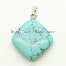 Wholesale natural rhombus turquoise pendant semi precious pendant