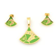 Изготовленное на заказ зеленое золото стали комплектов ювелирных изделий из нержавеющей стали, очень дешево дизайн одежды наборы в alibaba