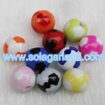 8MM Colorful Acrylic Round Soccer Ball football Beads Fit European Charm Bracelet