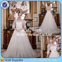 New fashion simple casual short sleeve bridal wedding dress