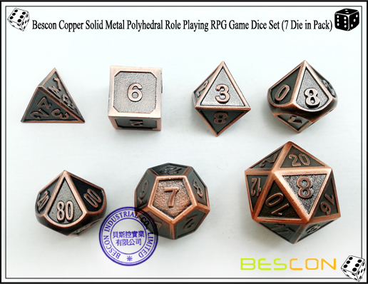 Bescon Copper Solid Metal Polyhedral Role Playing RPG Game Dice Set (7 Die in Pack)-3
