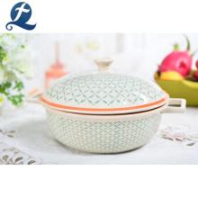 Utensilios de cocina Restaurante Sopa de cerámica esmaltada Servir Olla con tapas