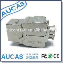 AUCAS UTP cat5e rj45 módulo conector / CAT6 jack adaptador modular plug / keystone jack 180 graus