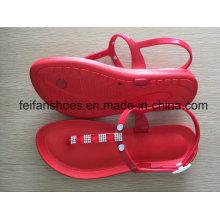 Sandales occasionnelles de femmes de couleur rouge de PVC, pantoufles de mode de dames molles