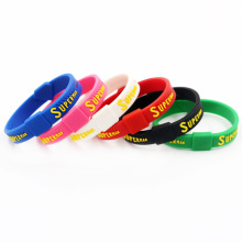 Stock selling super man silicone wristbands, customized silicone bracelets for promotional gift