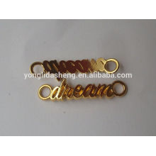 hot selling clothing accessory metal logo of alphabet letter with many colors