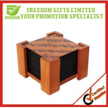 Coasters de madeira relativos à promoção do projeto novo