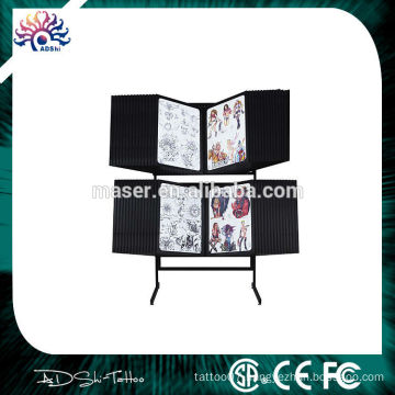 professional stainless steel tattoo flash display rack,tattoo photo display racks with free stand