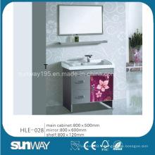 Vanité de salle de bain en acier inoxydable à vente chaude avec miroir