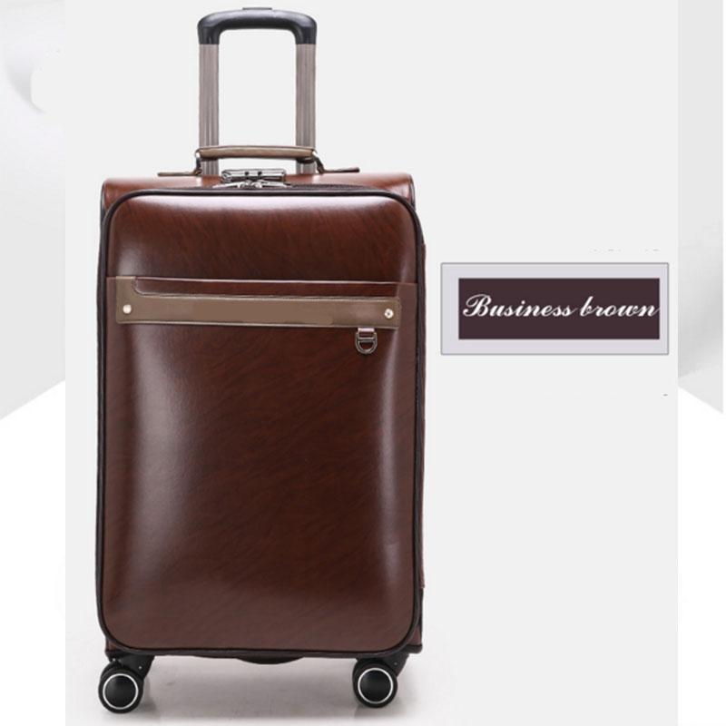 Business brown pu luggage