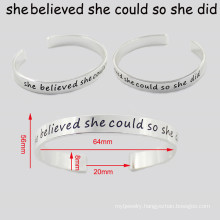 Engraved Words Custom Fashion jewelry Metal Bangle Bracelet
