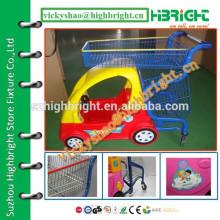 Carrinhos de compras de plástico para crianças com cesta de metal com plástico pulverizado