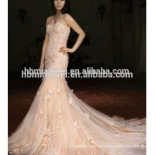 Vestido de novia de encaje de cola de pescado de importación de Francia 2016 vestido de bola