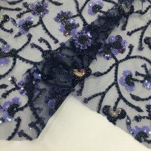 Polyester Sequins And Beads Border Embroidery Fabric