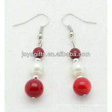 Natural red coral beads with fresh water pearl earring