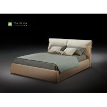 Light Coffee Upholstery Bed with Headboard Cushion