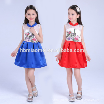 2017 new fashion girl party wear western dress one pcs party wear baby girl child dress