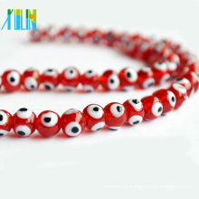 charming strand beads China red clear evil eye beads