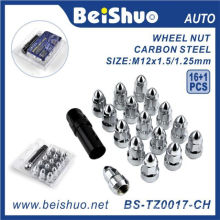 Steel M12 Bullet Wheel Nuts with Key