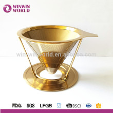 New Product 2016 Amazon Hot Selling Unique Copper 18/8# Paperless Stainless Steel Pour Over Coffee Dripper and Brewer