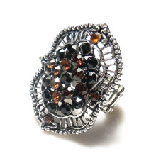 Fashion Exaggerated Vintage Style hollow metal Stretch Elastic Ring with rhinestone inlay, antique silver plated
