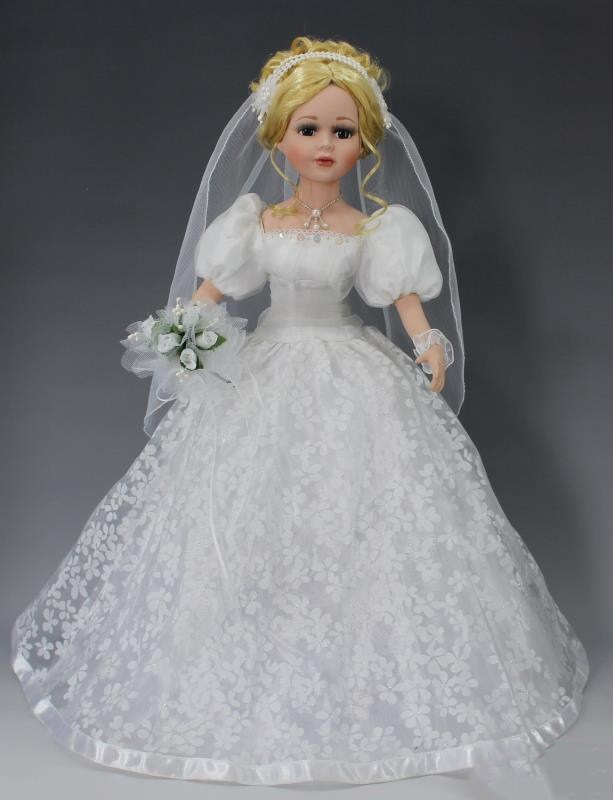 White Wedding Dress Porcelain Doll