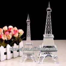 Modelo de cristal da construção da torre Eiffel 3d para presentes relativos à promoção ou decoração