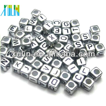 fashion jewelry metal silver color cube alphabet beads with threading hole