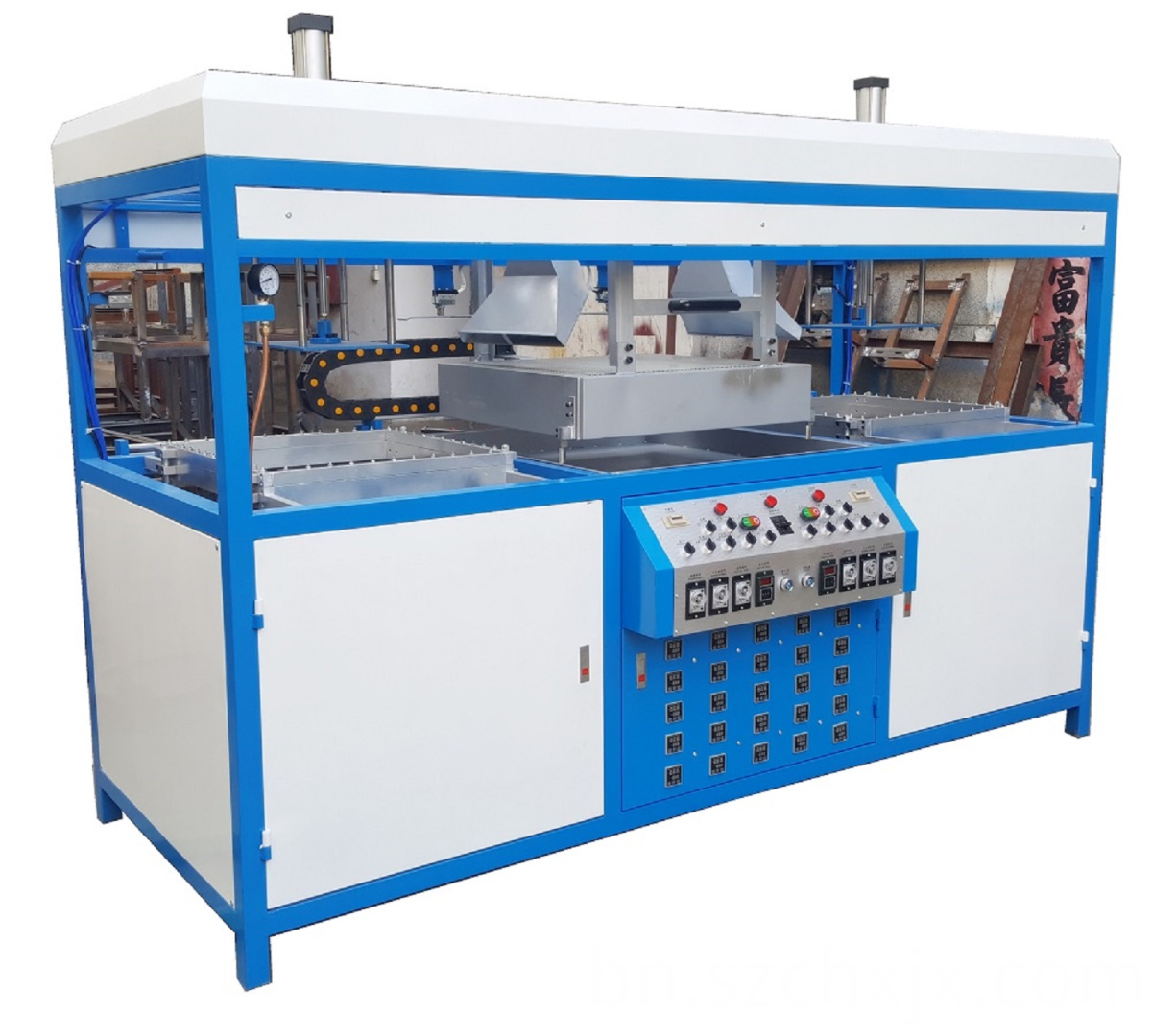 Double working stations blister vacuum forming machine
