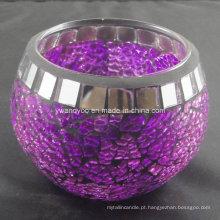 Castiçal de vidro roxo mosaico