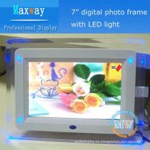Marco de acrílico de 7 pulgadas de luz LED marco de fotos digital para niñas