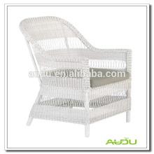 Audu Outdoor Patio White Rattan Chair