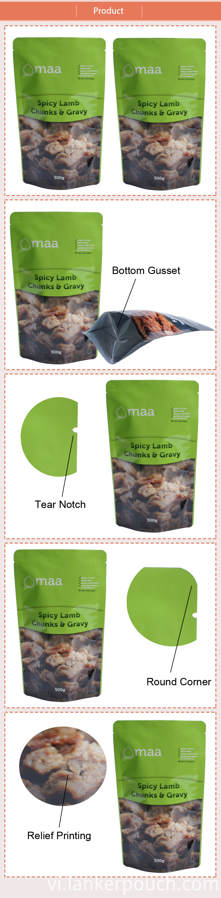 Custom Packaging Bag Food Stand Up Retort Pouch
