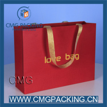 Color Red Paper Bag with Printing/Foil/Gold Hot Stamping Logo