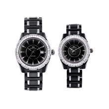 Odm Lovers Style Black Ceramic Analog Wrist Watch, Water Resistant Gift Watches