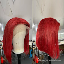Glueless 100% human hair Full Lace Wig 360 Lace Frontal Wigs For Black Women Red bob Hd Transparent Lace Front Human Hair Wigs