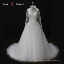 WX1555 long sleeves wedding gown with back bow beach theme design your own wedding dress