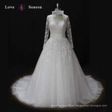 WX1555 mangas compridas vestido de noiva com arco traseiro praia tema projetar seu próprio vestido de noiva