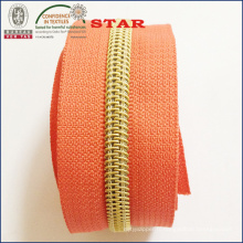 (5 #) Dents dorées Nylon Long Chain Zipper
