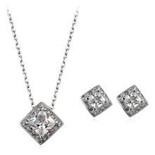 Italiano rhodium banhado zircão jóias set perfeito zircão design colar e jóias brinco conjunto