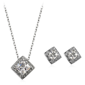 Italian Rhodium plated square zircon jewelry set perfect zircon design necklace and earring jewelry set