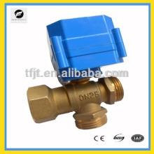 """1 """"AC220V Messing 3-Wege T-Flow CR04 Motorgesteuertes Ventil für IC Karten Wasserzähler"""