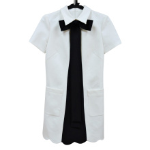 Lady's Stripe Cotton Long Sleeve Tailor Dress