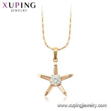 44973 Xuping atacado jóias 18 k banhado a ouro estrela forma de pedra preciosa cadeia colares