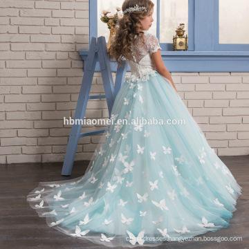 2017 new fashion short sleeve western flower baby girl wedding dress Lace Palace princess style girl frock dress