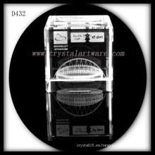 cubo de cristal grabado del laser 3D