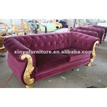 Sala de estar clássica de veludo roxo sofá de 2 lugares A10004