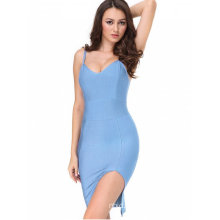 Slit Fitted Cami Bandage Sky Blue Dress