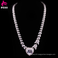 Luxury Zircon White Gold Wedding Necklace Design